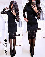 Гипюровое платье с длинным рукавом, размер S M L