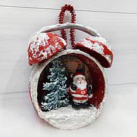 Елочная игрушка Будильник с Дедом морозом Подарок на день Николая Новый год Рождество, фото 1