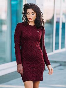 (S-L) В'язане стильне бордове плаття Kelli