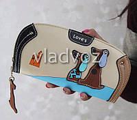 Модный женский кошелек клатч бумажник органайзер для телефона карточек денег собака собачка бежевый