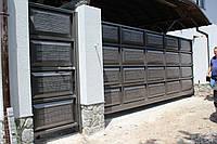 Откатные металлические ворота-Филёнка(шоколадка) 3200*2000