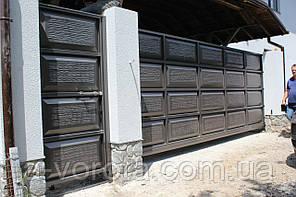 Откатные металлические ворота «Филёнка» (3 200×2 000 мм)