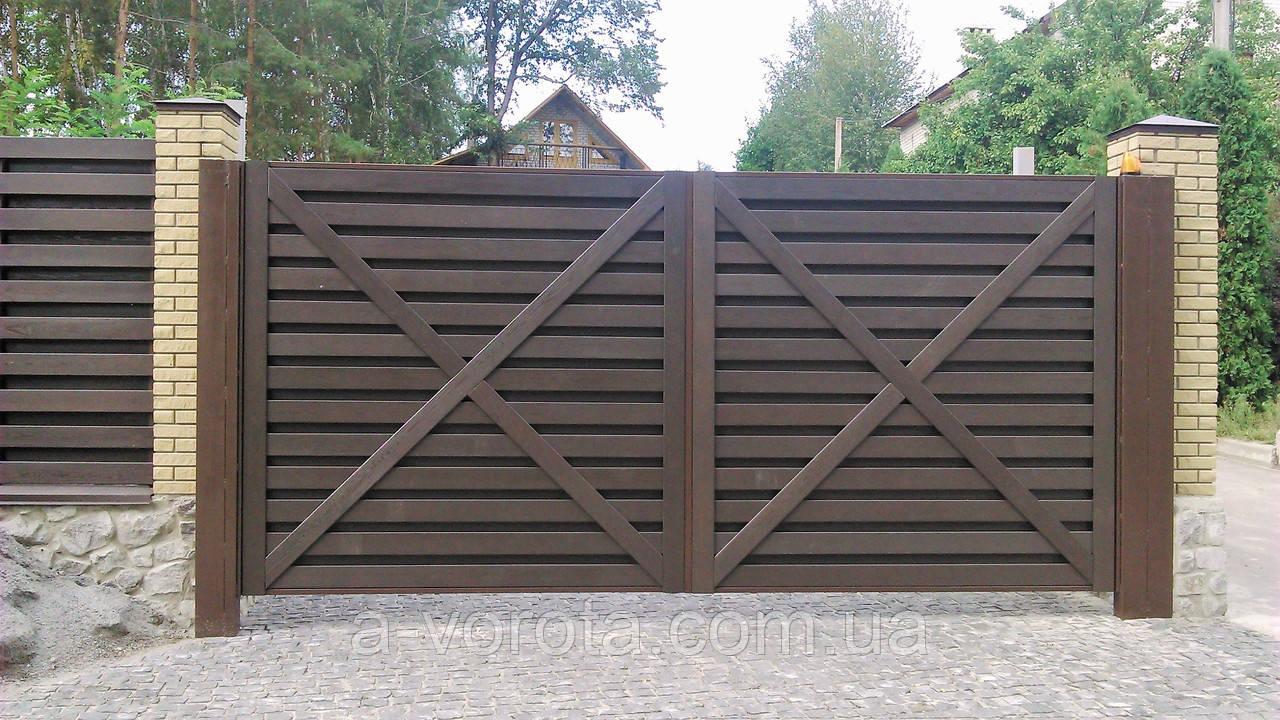 Ворота консольные с зашивкой дерево