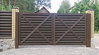 Ворота консольные с зашивкой дерево, фото 1