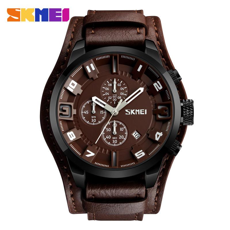 • Оригинал! Мужские часы Skmei 9165 Braun -Braun | Классические Мужские часы