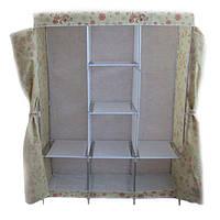 Портативный мобильный шкаф из ткани для одежды Storage Wardrobe YQF130-14 - бежевый с цветами