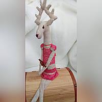 Новогодняя олень текстильная игрушка