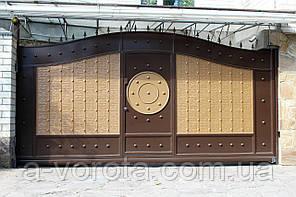 Сдвижные металлические ворота с рельефным декором ш4000 в 2300 (дизайн-эффект жатки)
