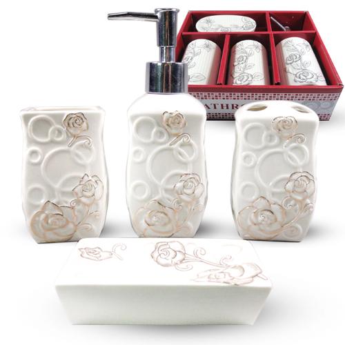 Набор аксессуаров для ванной комнаты 4 пр. Цветочный барельеф