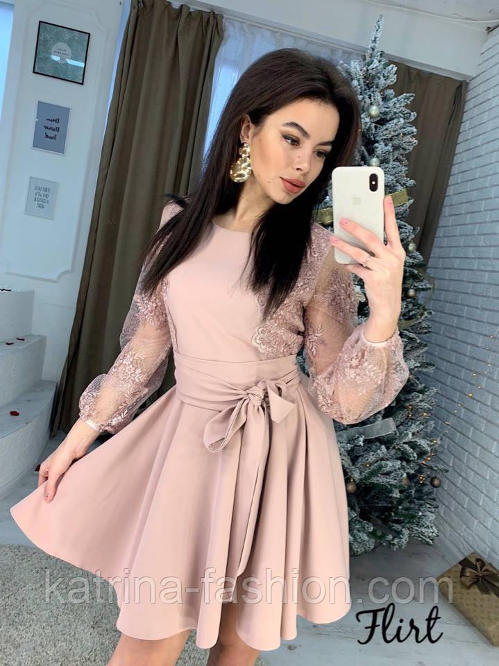 Женское изысканное платье с рукавами из итальянского кружева