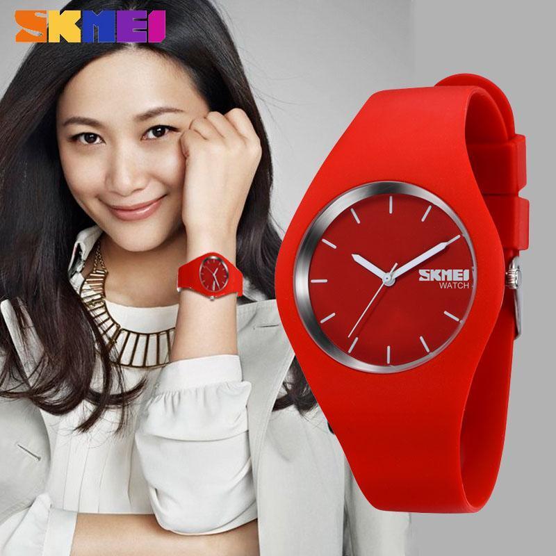 • Оригинал! SKMEI (СКМЕЙ) 9068 RUBBER RED  | женские часы !