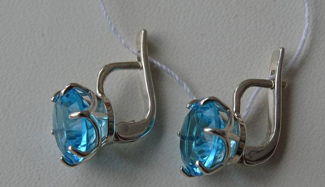 Серебряные серьги c голубым большим цирконием