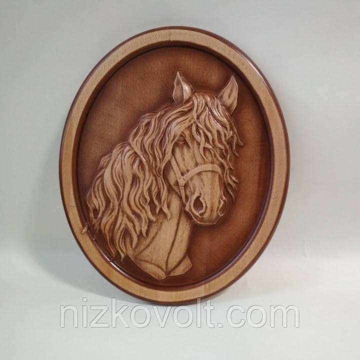 """Резное панно """"Лошадь"""" - резьба по дереву 250*300*18 мм"""