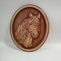 """Резное пано """"Лошадь"""" - резьба по дереву 250*300*18 мм"""