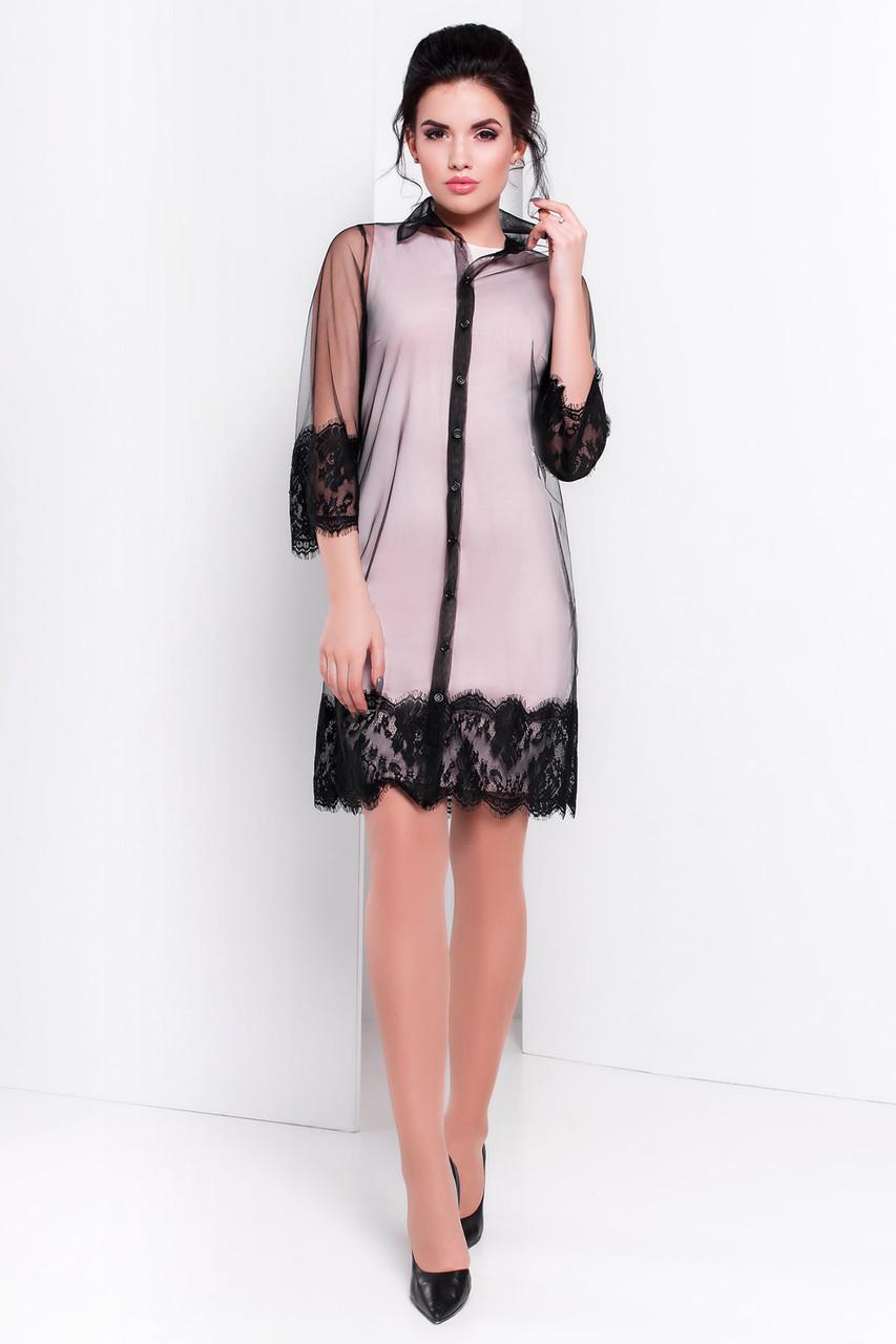 Стильная чёрная сетка-платье