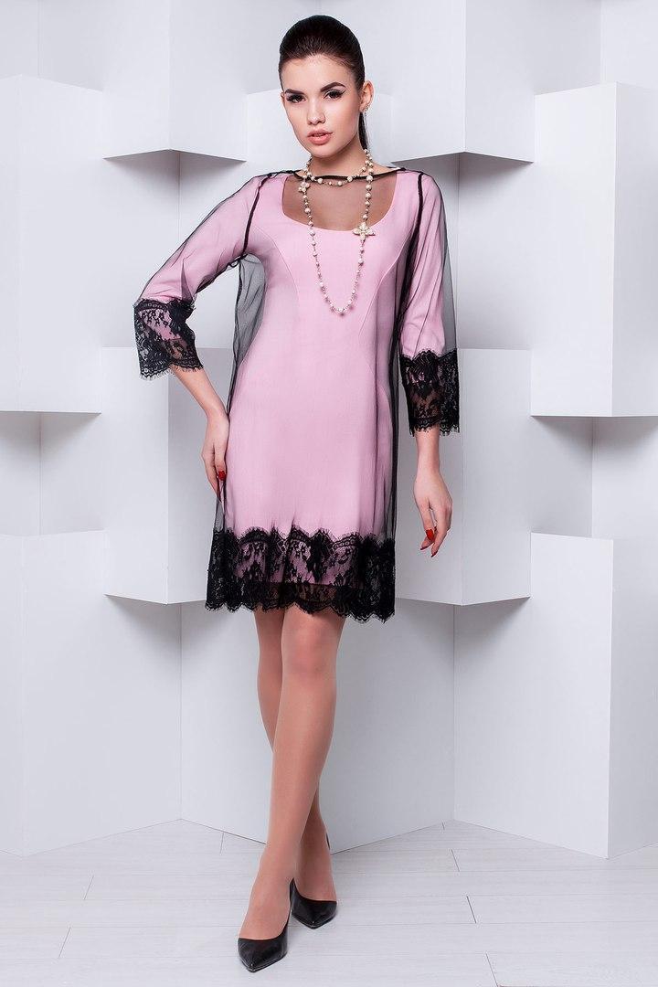 Стильна чорна сітка-плаття