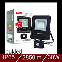 Светодиодный прожектор с датчиком движения MAXUS 30W, 5000K