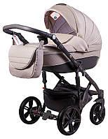 Детская коляска 2 в 1 Adamex Prince X-19 бежевый лен - темно-бежевая кожа (выдавленная строчка), фото 1