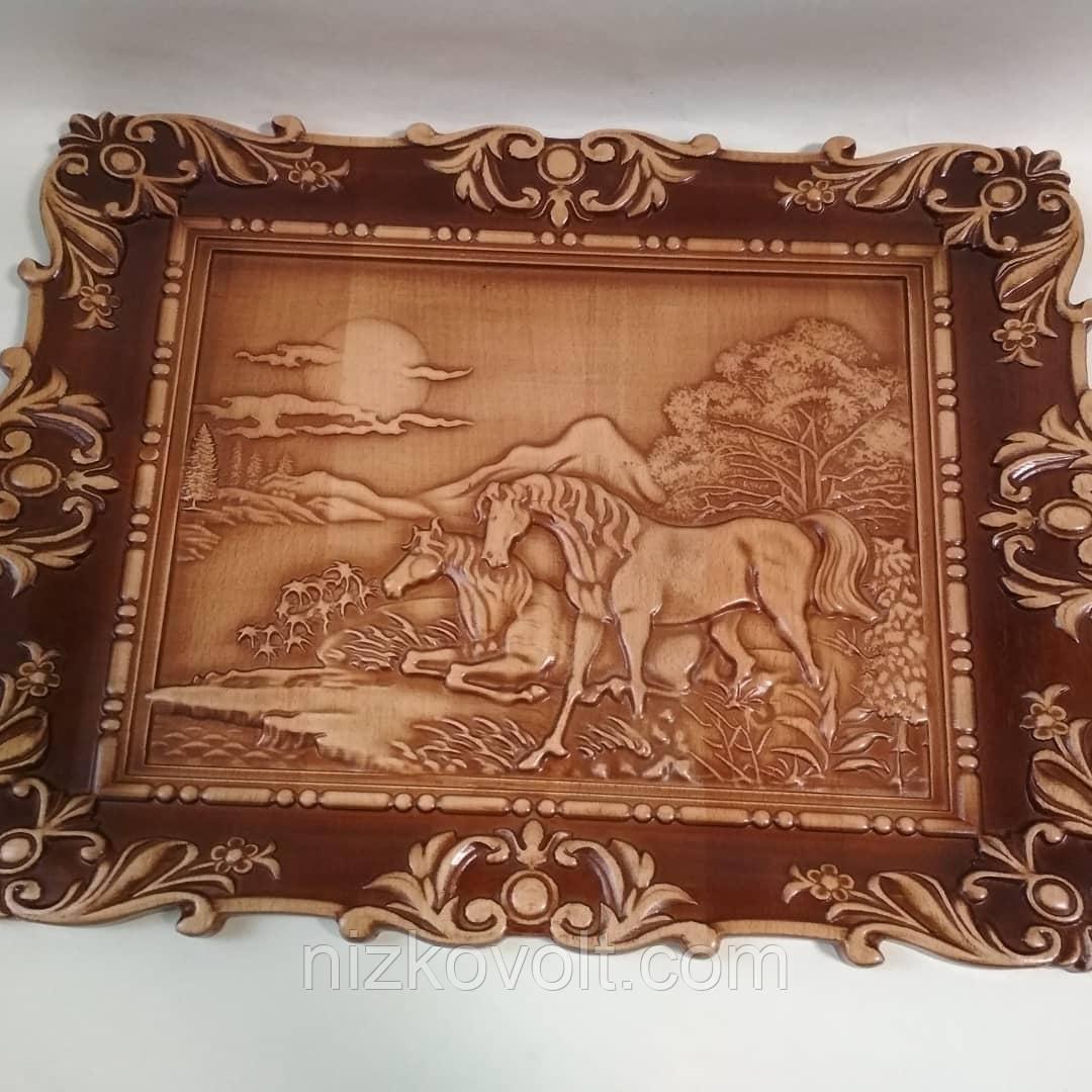 """Резная картина из дерева """"Лошади на отдыхе"""" 450*340*18 мм"""
