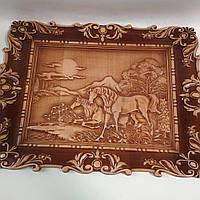 "Резная картина из дерева ""Лошади на отдыхе"" 450*340*18 мм, фото 1"