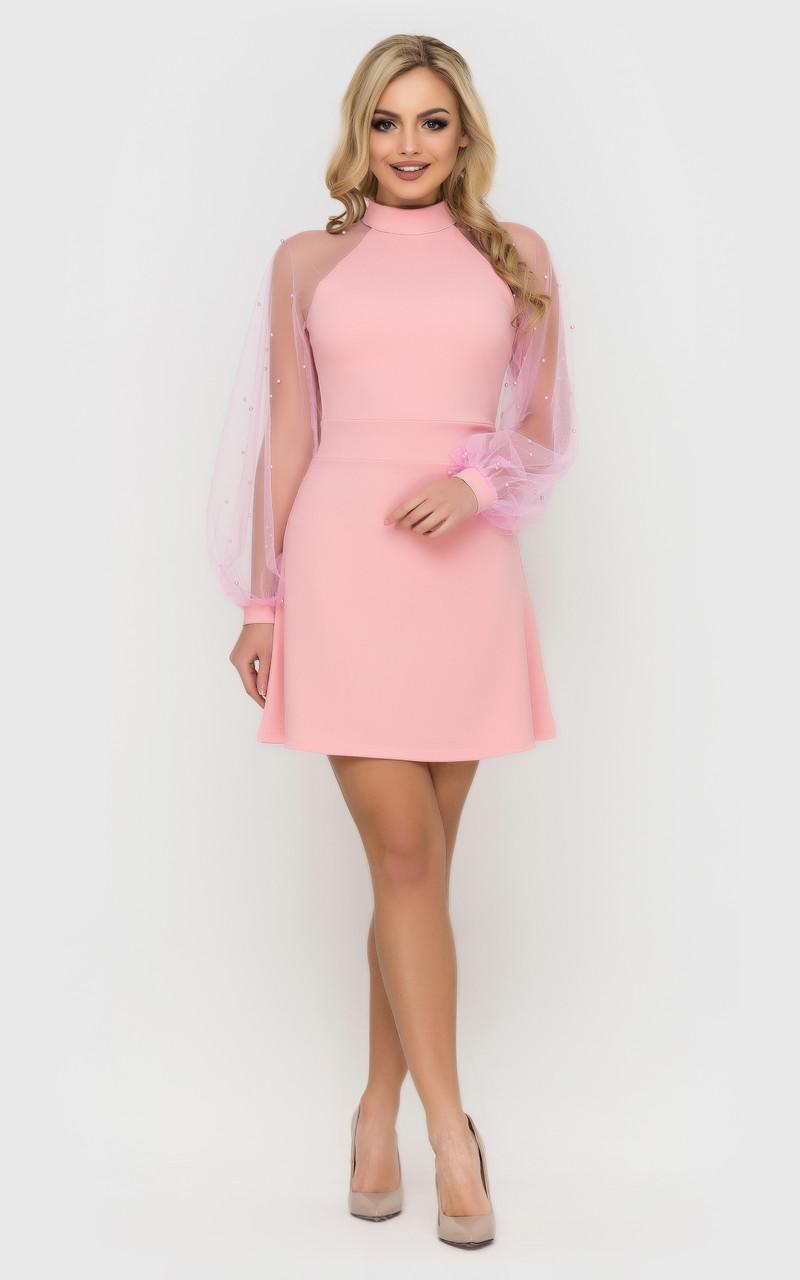 Платье нарядное с рукавами из сетки (3 цвета)