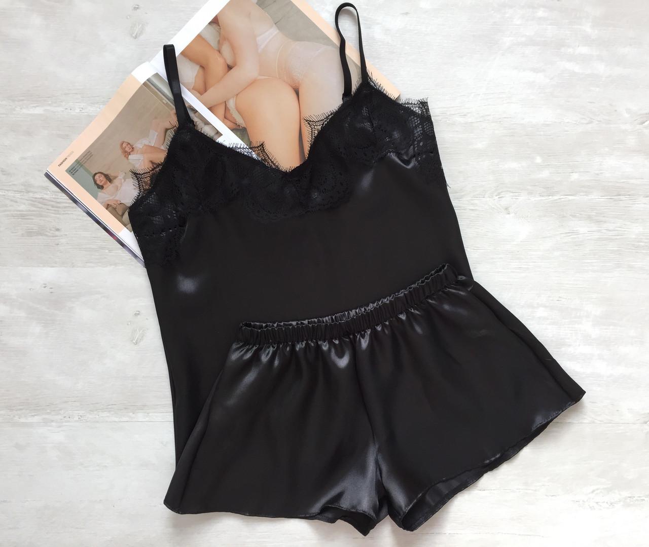 Пижама женская атлас стрейч черная 02