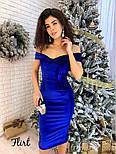 Женское красивое бархатное платье со спущенными плечиками (5 цветов), фото 7