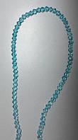 Бусины стеклянные голубые на нитке М