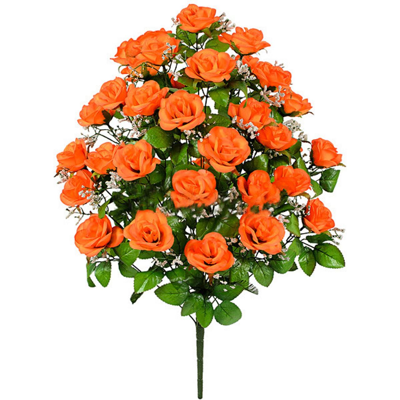Букет розкритих троянд з гіпсофілою, 67см (5 шт в уп)