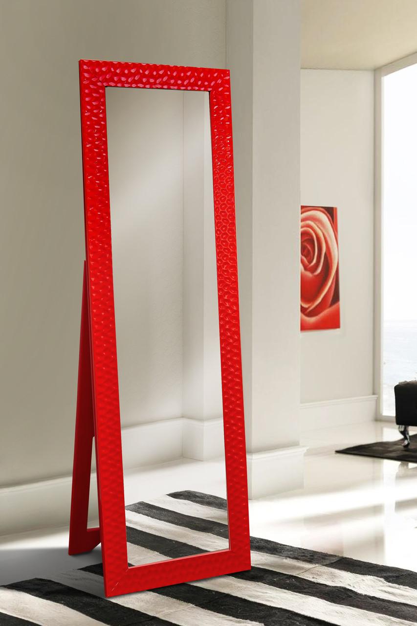 Напольное зеркало в красном цвете 1900х600 мм