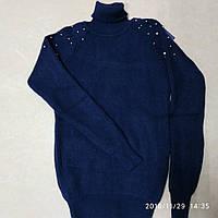 Красивый, теплый свитер для девочки  с высоким горлом
