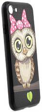 "Чехол накладка YCT для iPhone 7/8 (4.7 "") TPU + PC с тиснением Девочка сова Черный, фото 3"