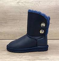 Синие кожанные угги с двумя поворотными пуговицами UGG Classic Short Turnlock Boot