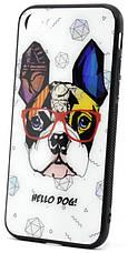 "Чехол накладка YCT для iPhone 7/8 (4.7 "") TPU + Glass Стильная собака (HELLO DOG!), фото 2"