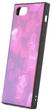 """Чехол накладка YCT для iPhone 7/8 (4.7 """") TPU + Glass прямоугольный Сердца розовые, фото 3"""