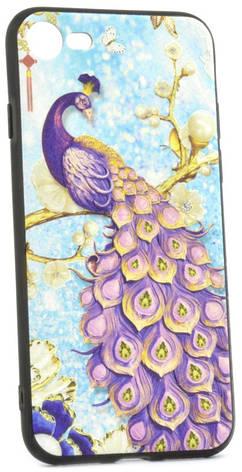 """Чехол накладка YCT для iPhone 7/8 (4.7 """") TPU + PC с тиснением Сиреневый павлин, фото 2"""