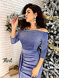 Женское платье люрекс роскошного женственного силуэта со спущенными плечами и разрезом, фото 2