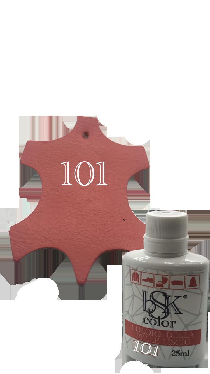 """Краска для гладкой кожи """"BSK color"""" кораллового цвета 25 мл №101"""