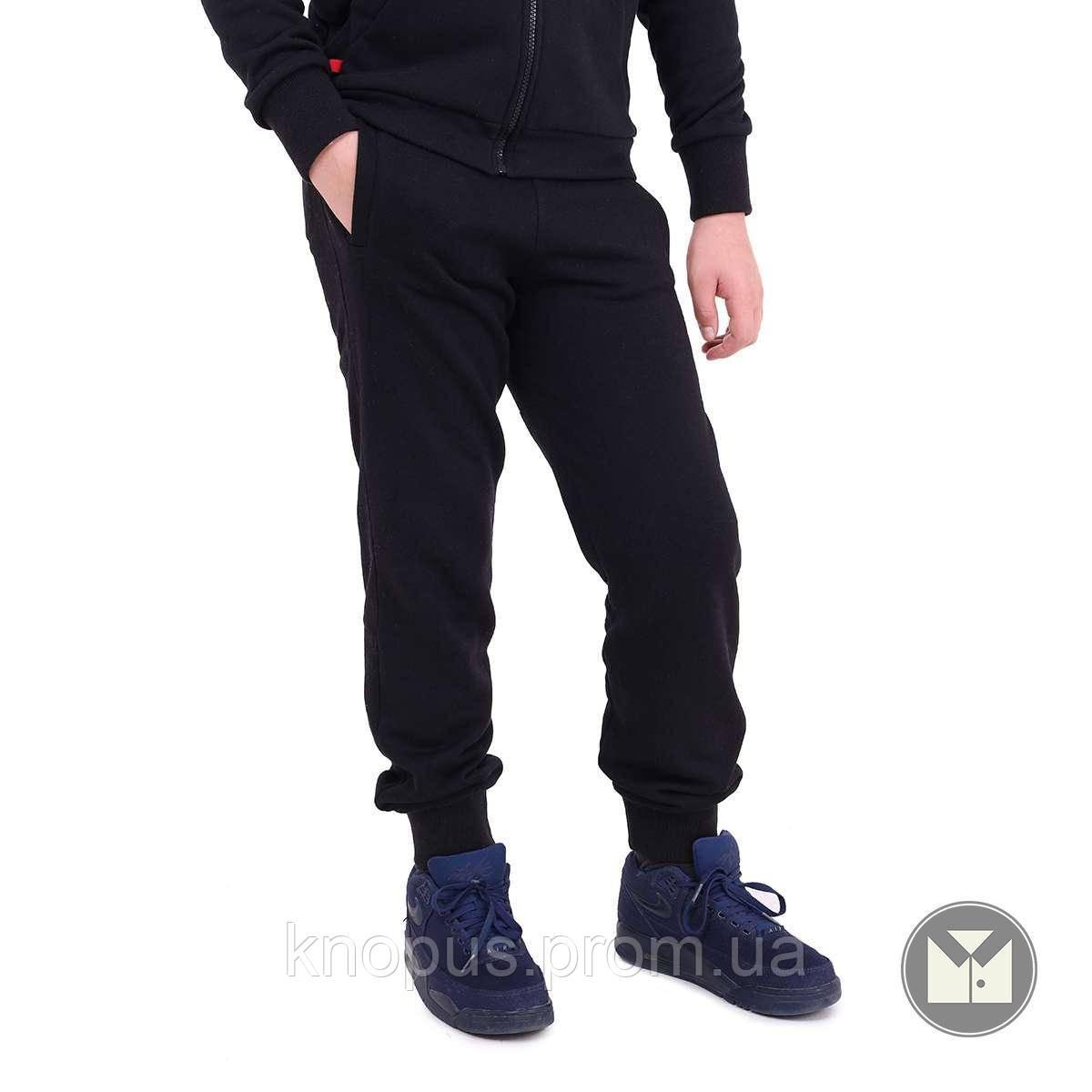 Спортивные штани  утепленные , черные, размер 140, Тимбо