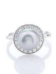 Кільце срібне з сірим перлами R-662 (р. 16.5)