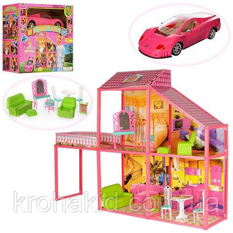 Кукольный домик для Барби с машинкой / Двухэтажный дом для кукол 6981, размер домика 105-80-23,5 см, фото 2