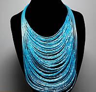 Ожерелье из бисера голубое