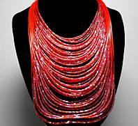 Ожерелье из бисера красное