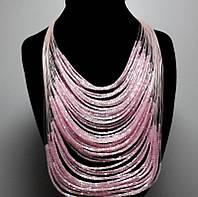 Ожерелье из бисера розовое