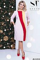 Интересное платье комбинированное яркими полосками, костюмка батал, фото 1
