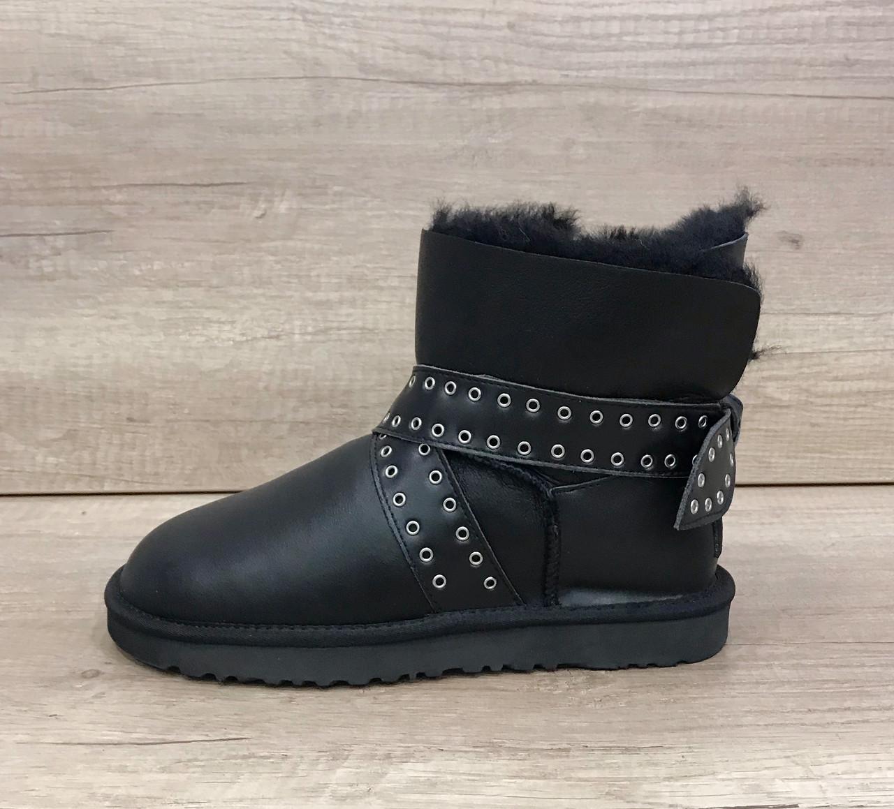 Черные кожаные угги мини с кожаным бантом UGG Cameron Skin Black