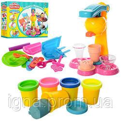 Пластилин MK 0078 (24шт) Мороженое,5цветов(баноч.с крыш),аппарат-пресс,формочки,в кор-ке,37-26-8см