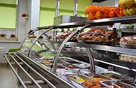 Прилавок холодильный 1,8 м линии раздачи с двумя полками и стеклом, фото 1