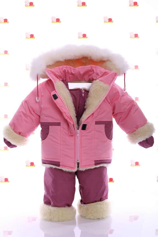 Зимний комбез на овчине (розовый)