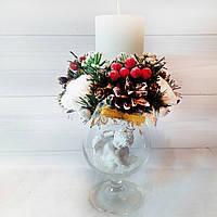 Новогодний  подсвечник (свеча) на бокале «Рождественский ангел» Новогодний и рождественский декор , фото 1